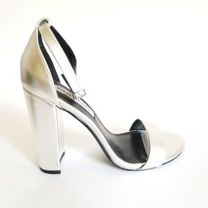 Leather Silver Ankle Strap Block High Heel
